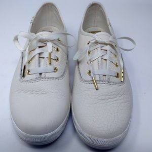 Kate Spade Ivory & Gold Keds Champion Sneakers 7.5